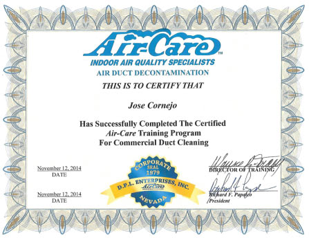Certified Commercial Duct Cleaner